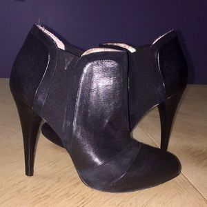 BCBGENERATION Black Leather Ankle Booties Size 7 B